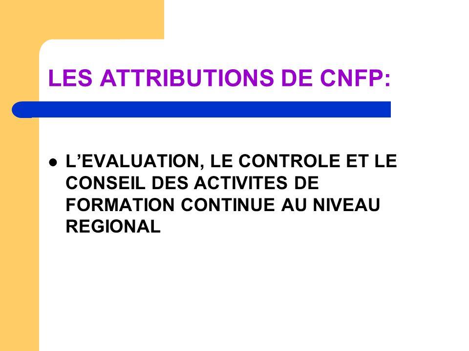 LES ATTRIBUTIONS DE CNFP: LEVALUATION, LE CONTROLE ET LE CONSEIL DES ACTIVITES DE FORMATION CONTINUE AU NIVEAU REGIONAL