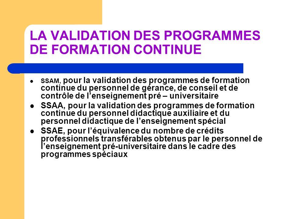 LA VALIDATION DES PROGRAMMES DE FORMATION CONTINUE SSAM, pour la validation des programmes de formation continue du personnel de gérance, de conseil e