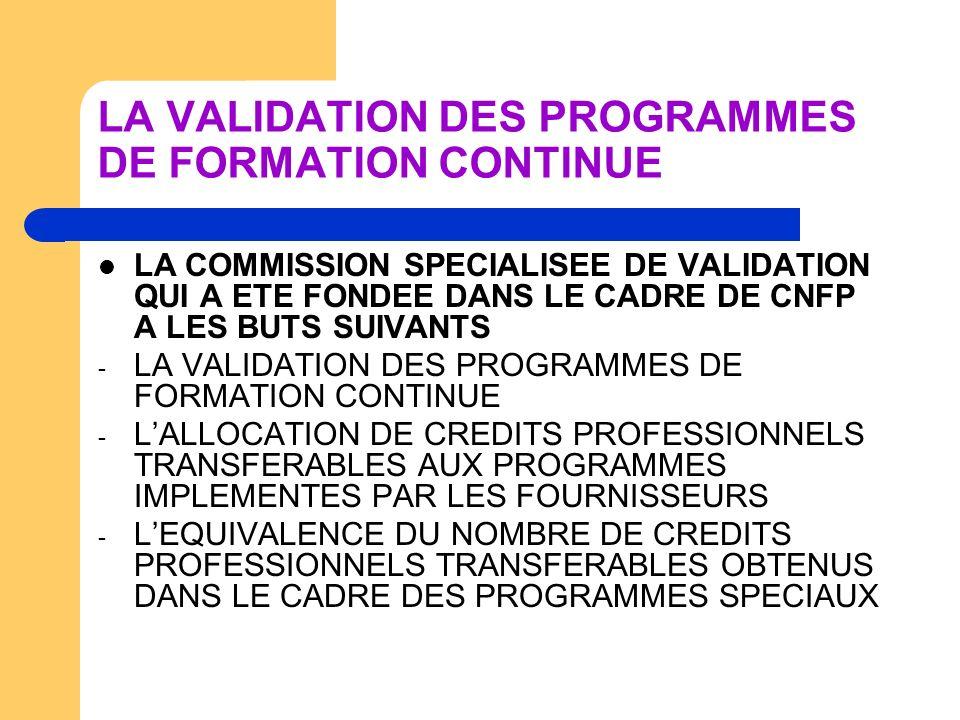 LA VALIDATION DES PROGRAMMES DE FORMATION CONTINUE LA COMMISSION SPECIALISEE DE VALIDATION QUI A ETE FONDEE DANS LE CADRE DE CNFP A LES BUTS SUIVANTS