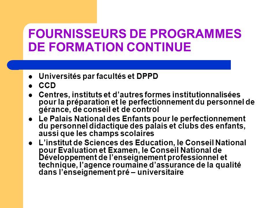 FOURNISSEURS DE PROGRAMMES DE FORMATION CONTINUE Universités par facultés et DPPD CCD Centres, instituts et dautres formes institutionnalisées pour la
