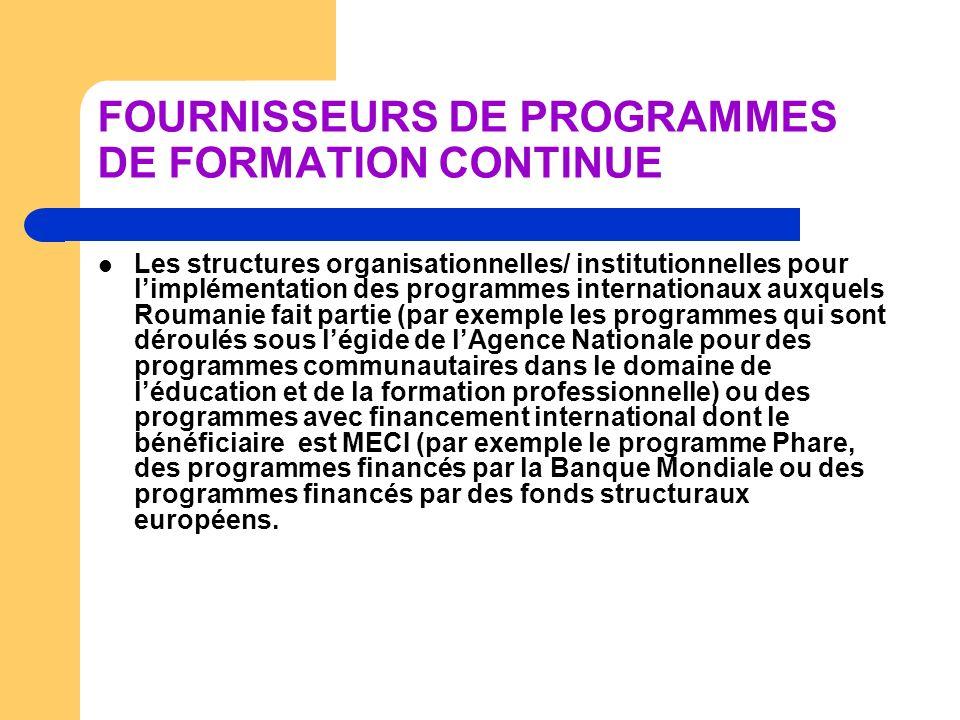 FOURNISSEURS DE PROGRAMMES DE FORMATION CONTINUE Les structures organisationnelles/ institutionnelles pour limplémentation des programmes internationa