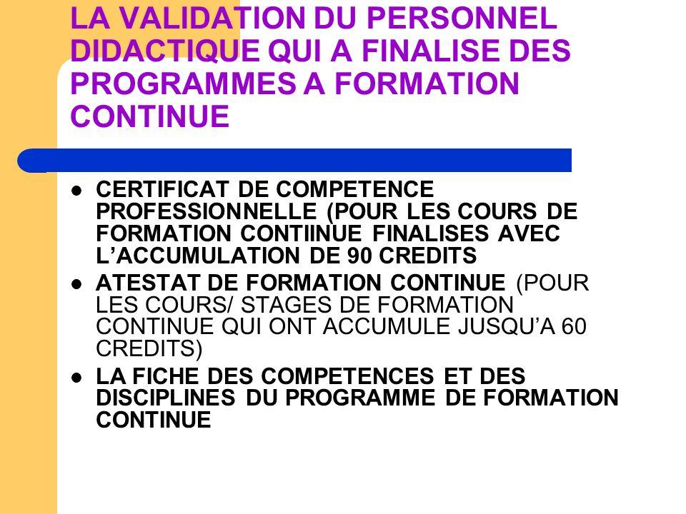 LA VALIDATION DU PERSONNEL DIDACTIQUE QUI A FINALISE DES PROGRAMMES A FORMATION CONTINUE CERTIFICAT DE COMPETENCE PROFESSIONNELLE (POUR LES COURS DE F