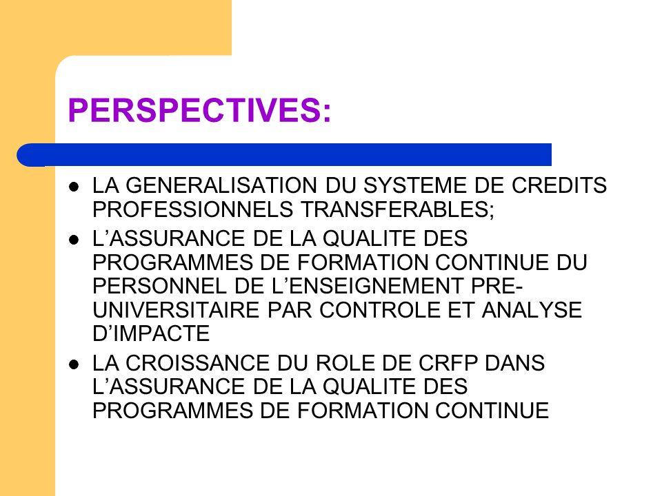 PERSPECTIVES: LA GENERALISATION DU SYSTEME DE CREDITS PROFESSIONNELS TRANSFERABLES; LASSURANCE DE LA QUALITE DES PROGRAMMES DE FORMATION CONTINUE DU P