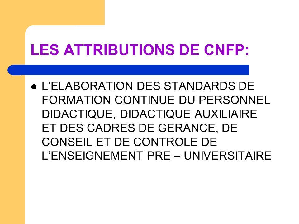 LES ATTRIBUTIONS DE CNFP: LELABORATION DES CRITERES ET DES MODALITES DE VALIDATION DES PROGRAMMES DE FORMATION CONTINUE LA VALIDATION PAR LA COMMISSION SPECIALISEE DE VALIDATION DES PROGRAMMES DE FORMATION CONTINUE PROPOSES PAR LES FOURNISSEURS DE FORMATION