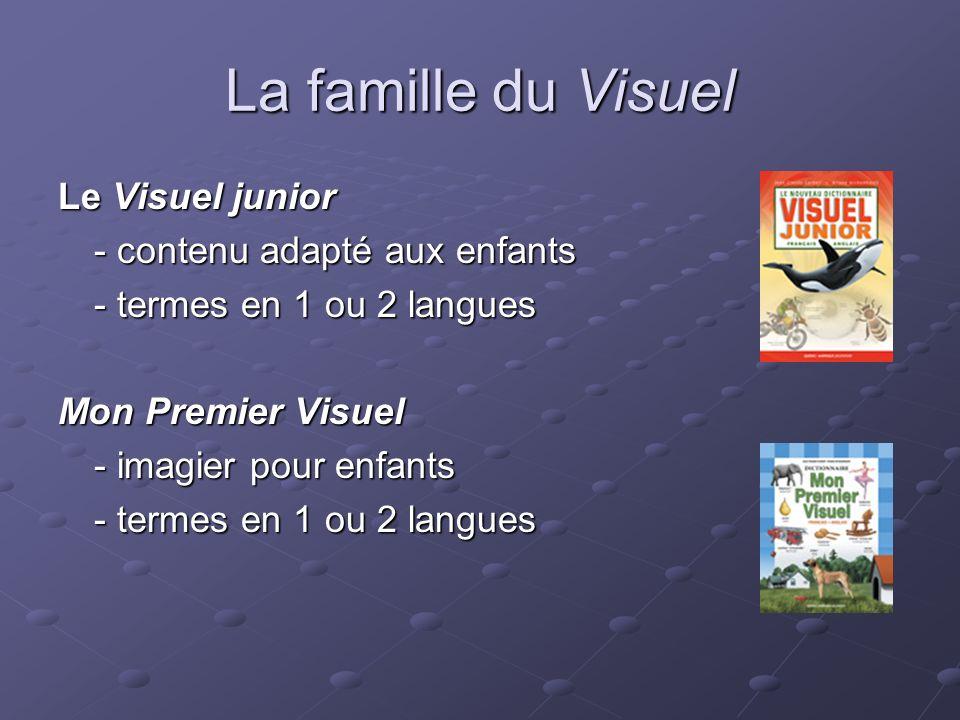 La famille du Visuel Le Visuel junior - contenu adapté aux enfants - termes en 1 ou 2 langues Mon Premier Visuel - imagier pour enfants - termes en 1 ou 2 langues