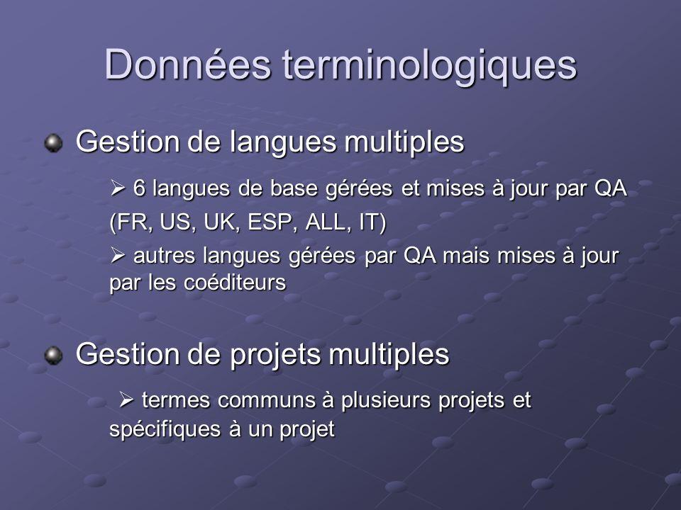 Données terminologiques Gestion de langues multiples Gestion de langues multiples 6 langues de base gérées et mises à jour par QA 6 langues de base gérées et mises à jour par QA (FR, US, UK, ESP, ALL, IT) autres langues gérées par QA mais mises à jour par les coéditeurs autres langues gérées par QA mais mises à jour par les coéditeurs Gestion de projets multiples Gestion de projets multiples termes communs à plusieurs projets et spécifiques à un projet termes communs à plusieurs projets et spécifiques à un projet