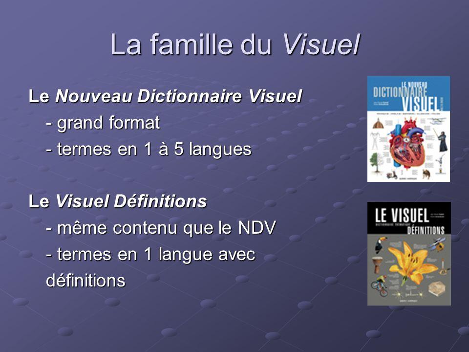 La famille du Visuel Le Mini Visuel - 60% du contenu du NDV - 60% du contenu du NDV - format poche - termes en 1 ou 2 langues Le Petit Visuel - format poche - termes en 1 à 6 langues ou en 2 langues avec définitions