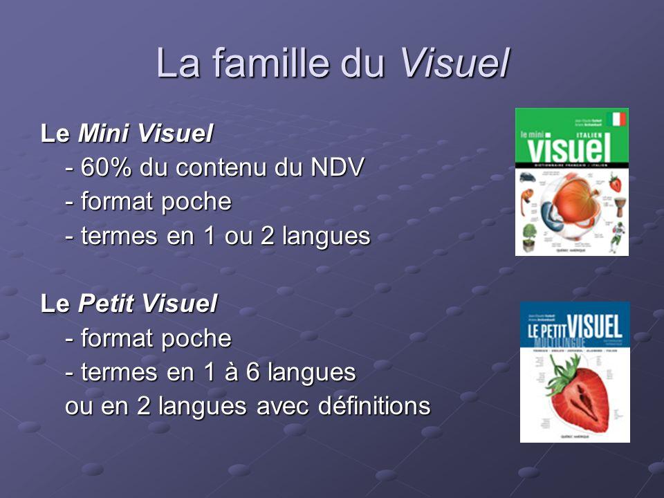 La famille du Visuel Le Visuel en série -12 tomes thématiques - termes en 1 à 6 langues ou en 2 langues avec définitions Le Micro Visuel - 50% du contenu du Mini Visuel