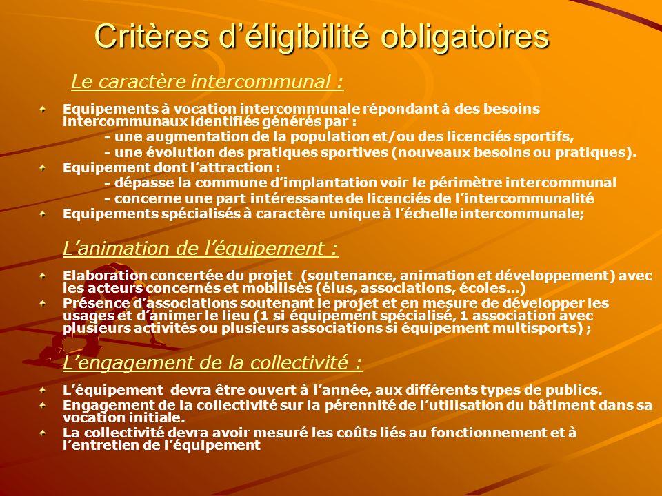 Critères déligibilité obligatoires Le caractère intercommunal : Equipements à vocation intercommunale répondant à des besoins intercommunaux identifié