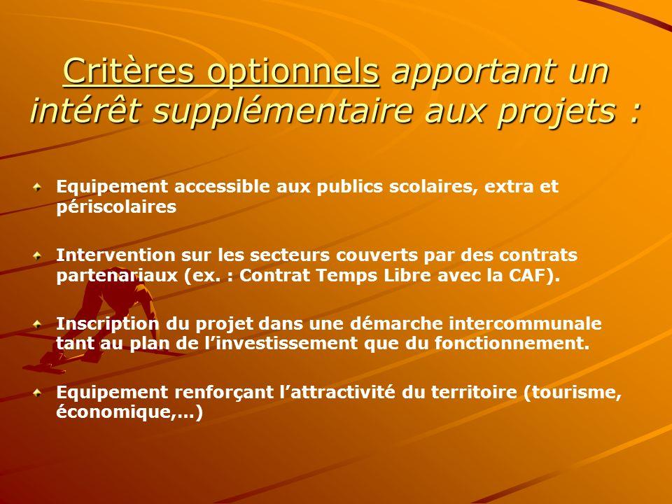 Critères optionnels apportant un intérêt supplémentaire aux projets : Equipement accessible aux publics scolaires, extra et périscolaires Intervention sur les secteurs couverts par des contrats partenariaux (ex.