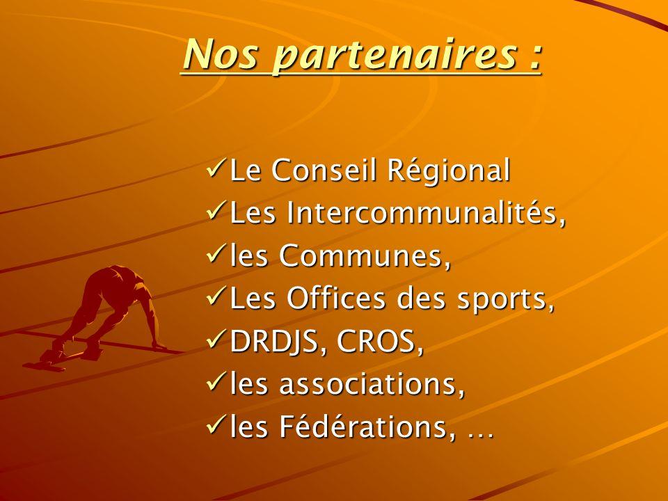 Nos partenaires : Le Conseil Régional Le Conseil Régional Les Intercommunalités, Les Intercommunalités, les Communes, les Communes, Les Offices des sports, Les Offices des sports, DRDJS, CROS, DRDJS, CROS, les associations, les associations, les Fédérations, … les Fédérations, …