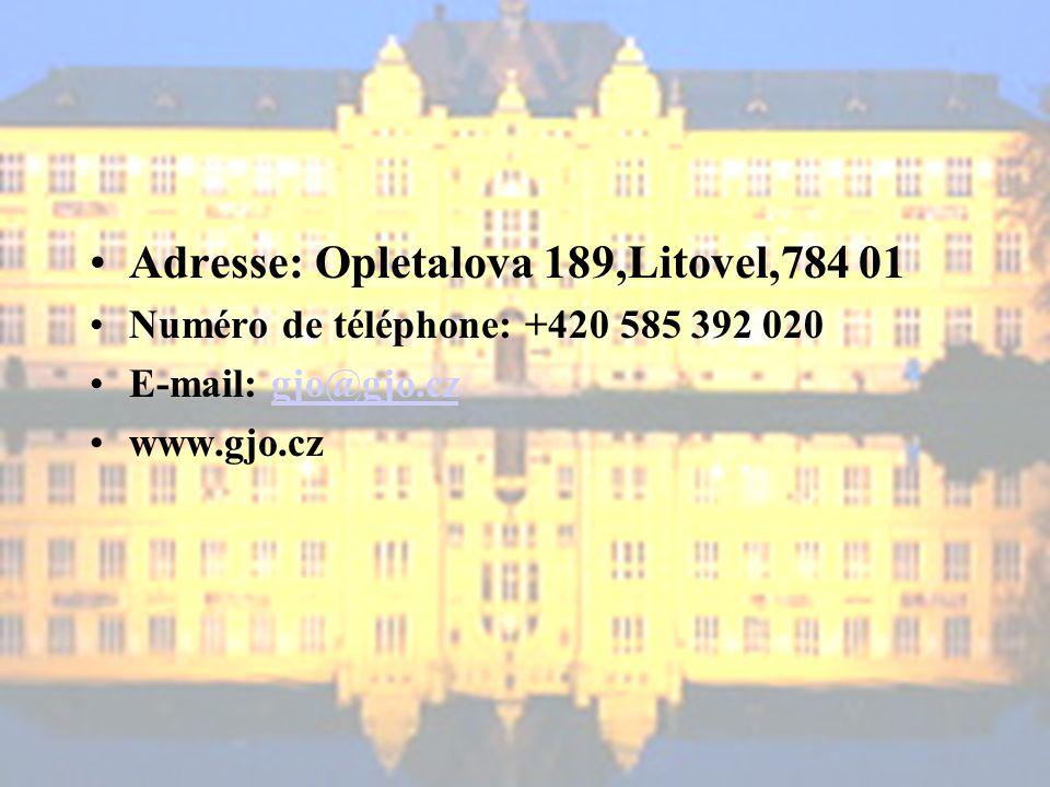 Adresse: Opletalova 189,Litovel,784 01 Numéro de téléphone: +420 585 392 020 E-mail: gjo@gjo.czgjo@gjo.cz www.gjo.cz