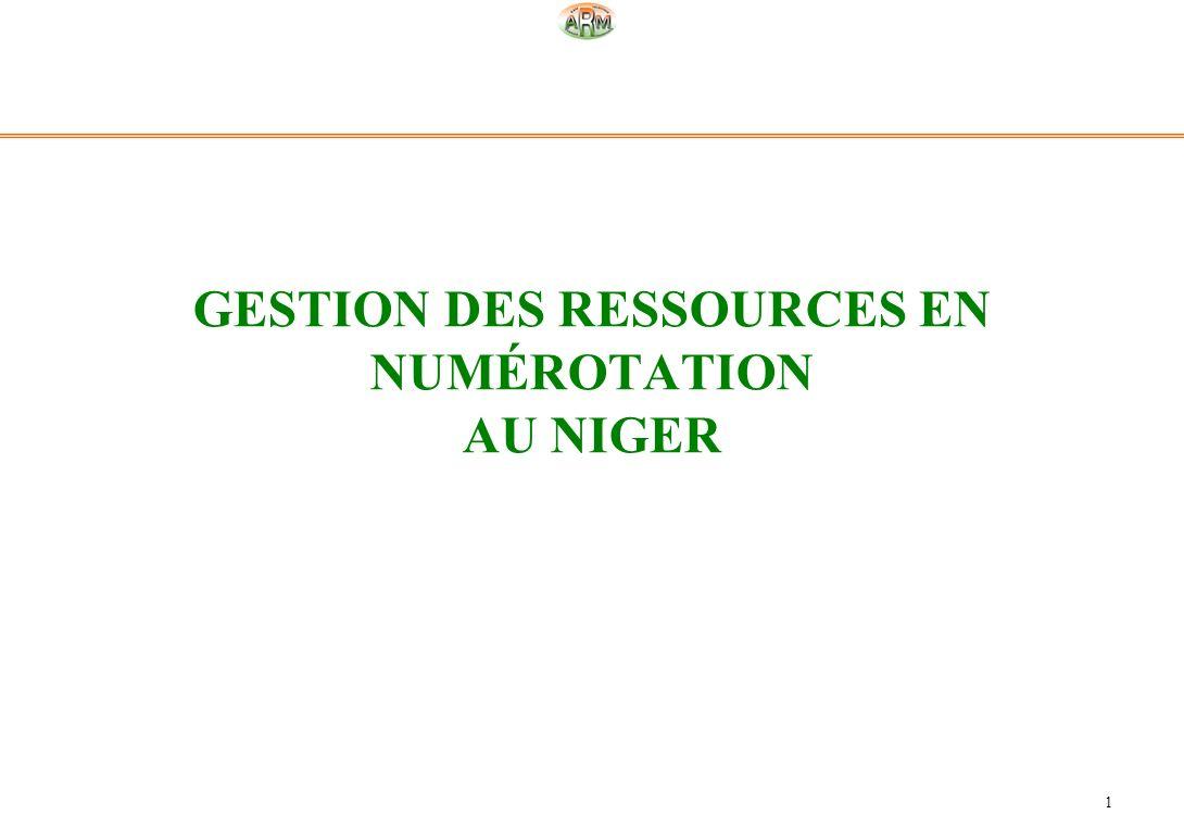 1 GESTION DES RESSOURCES EN NUMÉROTATION AU NIGER
