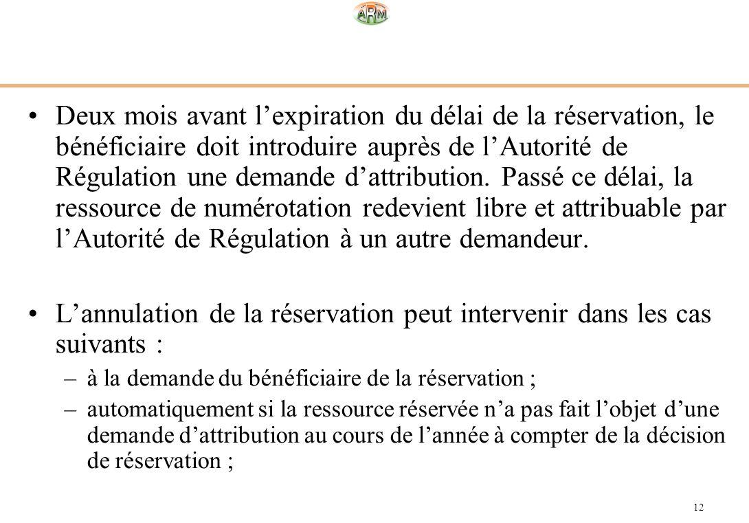 12 Deux mois avant lexpiration du délai de la réservation, le bénéficiaire doit introduire auprès de lAutorité de Régulation une demande dattribution.