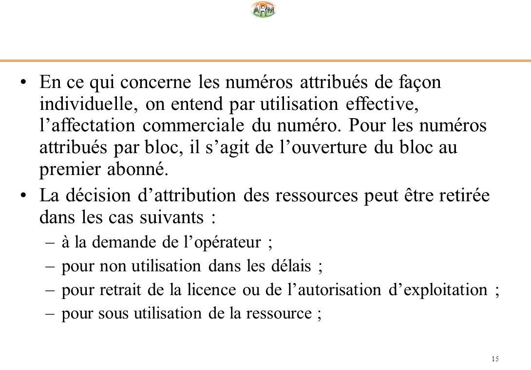 15 En ce qui concerne les numéros attribués de façon individuelle, on entend par utilisation effective, laffectation commerciale du numéro. Pour les n