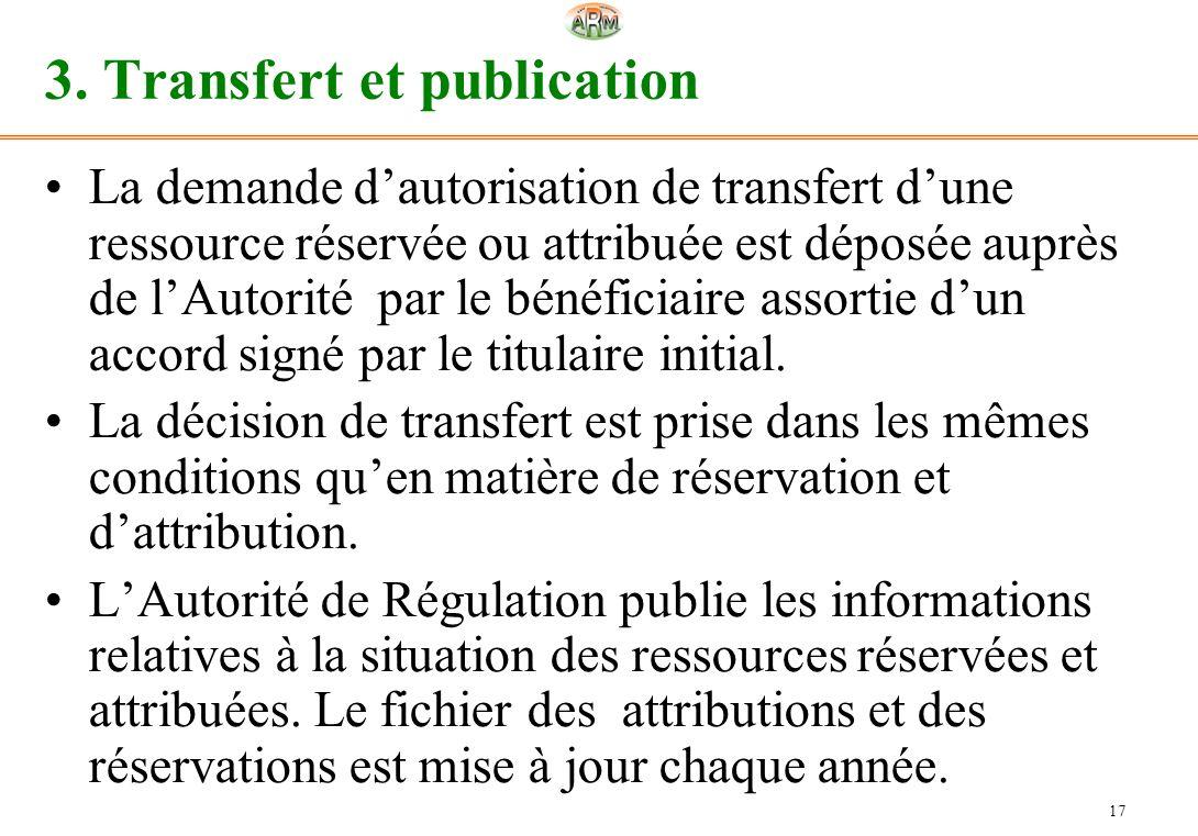 17 3. Transfert et publication La demande dautorisation de transfert dune ressource réservée ou attribuée est déposée auprès de lAutorité par le bénéf