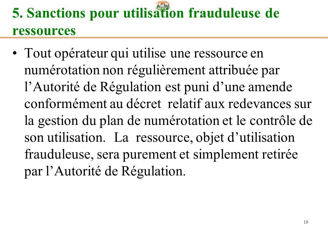 19 5. Sanctions pour utilisation frauduleuse de ressources Tout opérateur qui utilise une ressource en numérotation non régulièrement attribuée par lA
