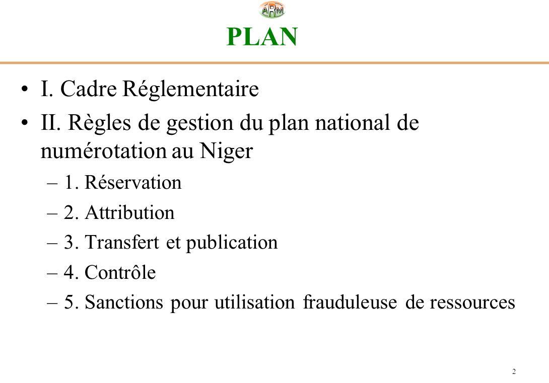 2 PLAN I. Cadre Réglementaire II. Règles de gestion du plan national de numérotation au Niger –1. Réservation –2. Attribution –3. Transfert et publica