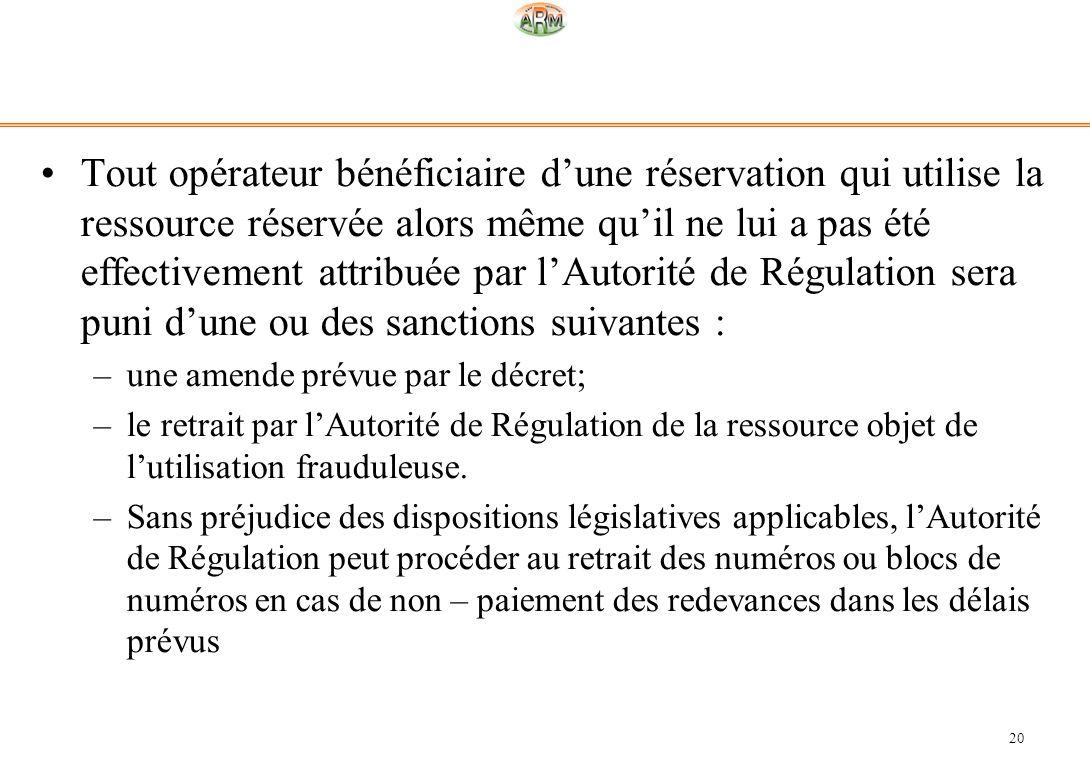 20 Tout opérateur bénéficiaire dune réservation qui utilise la ressource réservée alors même quil ne lui a pas été effectivement attribuée par lAutori