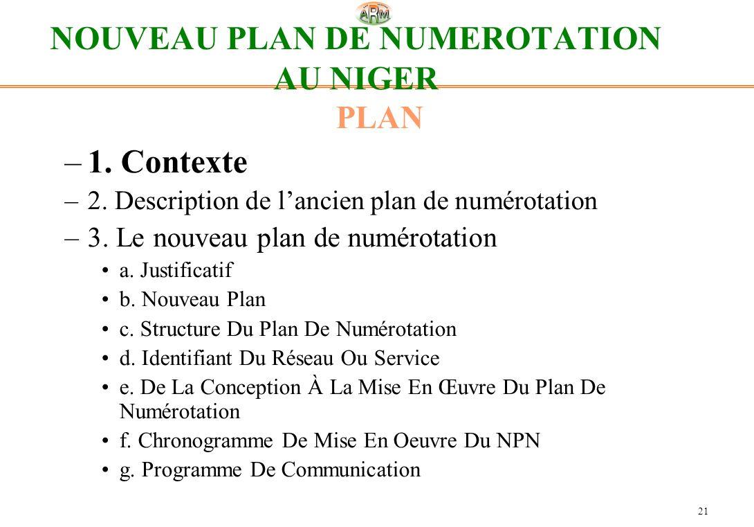 21 NOUVEAU PLAN DE NUMEROTATION AU NIGER PLAN –1. Contexte –2. Description de lancien plan de numérotation –3. Le nouveau plan de numérotation a. Just