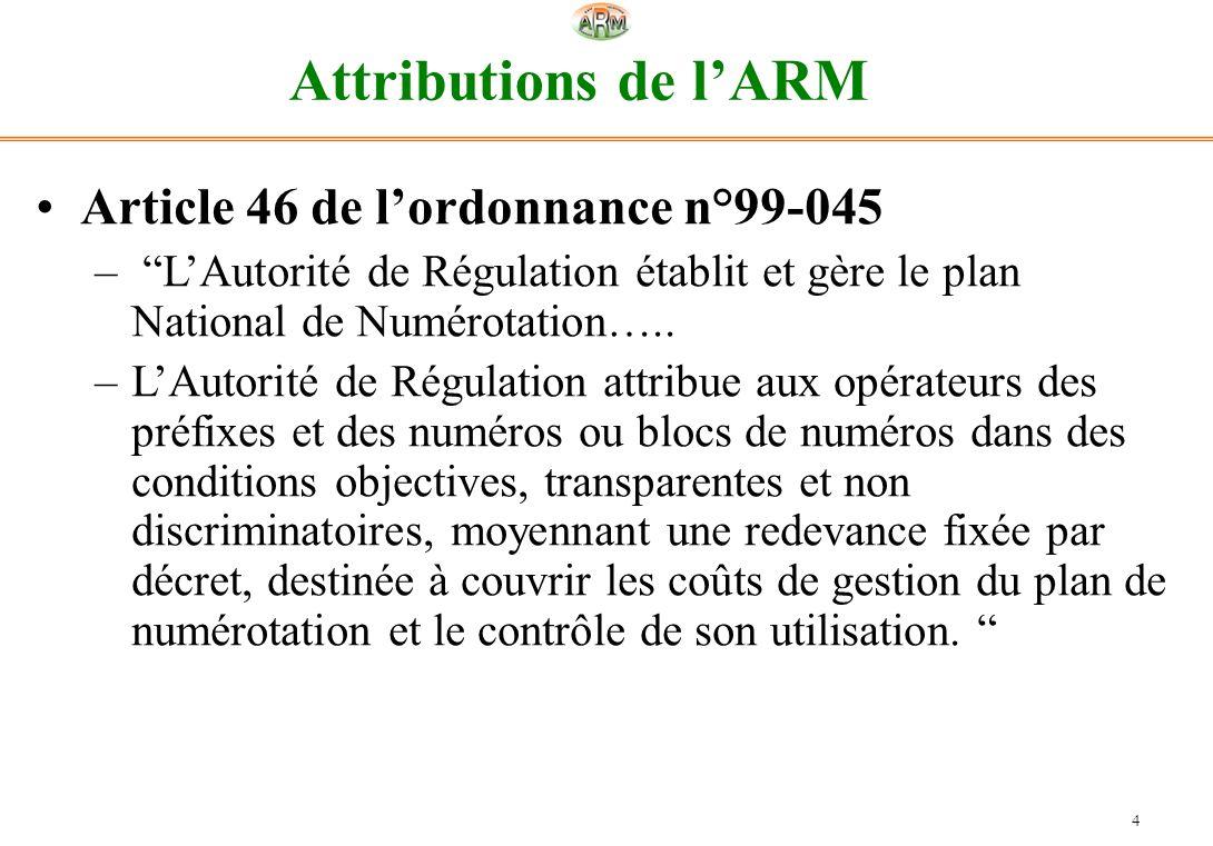 4 Attributions de lARM Article 46 de lordonnance n°99-045 – LAutorité de Régulation établit et gère le plan National de Numérotation….. –LAutorité de