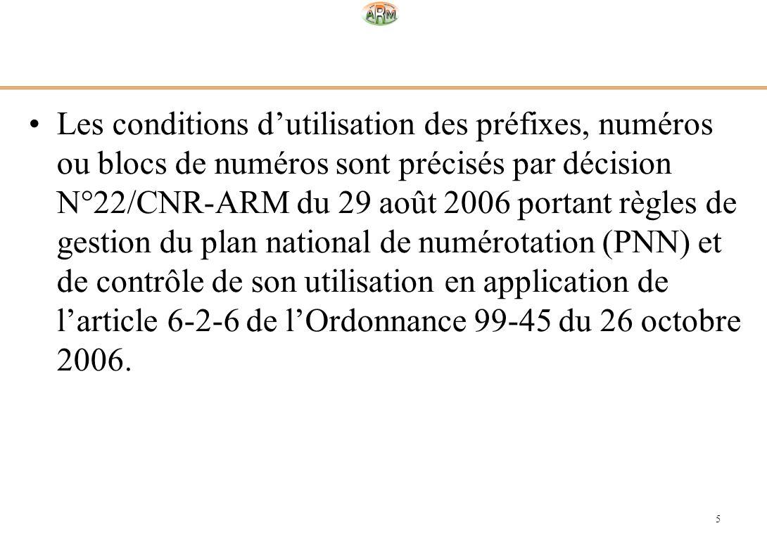 5 Les conditions dutilisation des préfixes, numéros ou blocs de numéros sont précisés par décision N°22/CNR-ARM du 29 août 2006 portant règles de gest