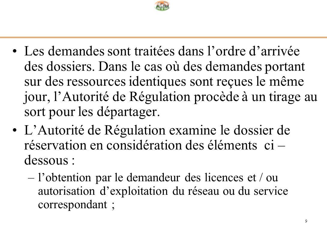 9 Les demandes sont traitées dans lordre darrivée des dossiers. Dans le cas où des demandes portant sur des ressources identiques sont reçues le même