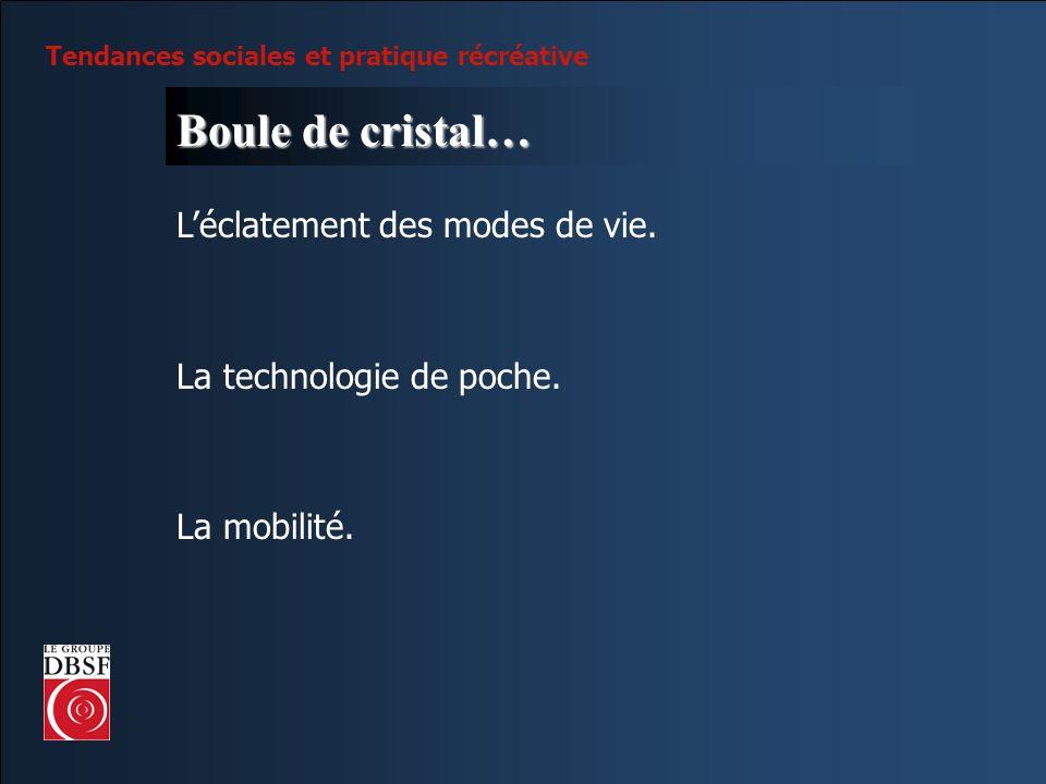 Tendances sociales et pratique récréative Boule de cristal… Léclatement des modes de vie. La technologie de poche. La mobilité.