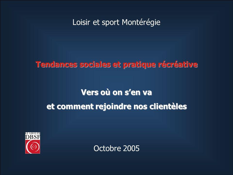 Loisir et sport Montérégie Tendances sociales et pratique récréative Vers où on sen va et comment rejoindre nos clientèles Octobre 2005