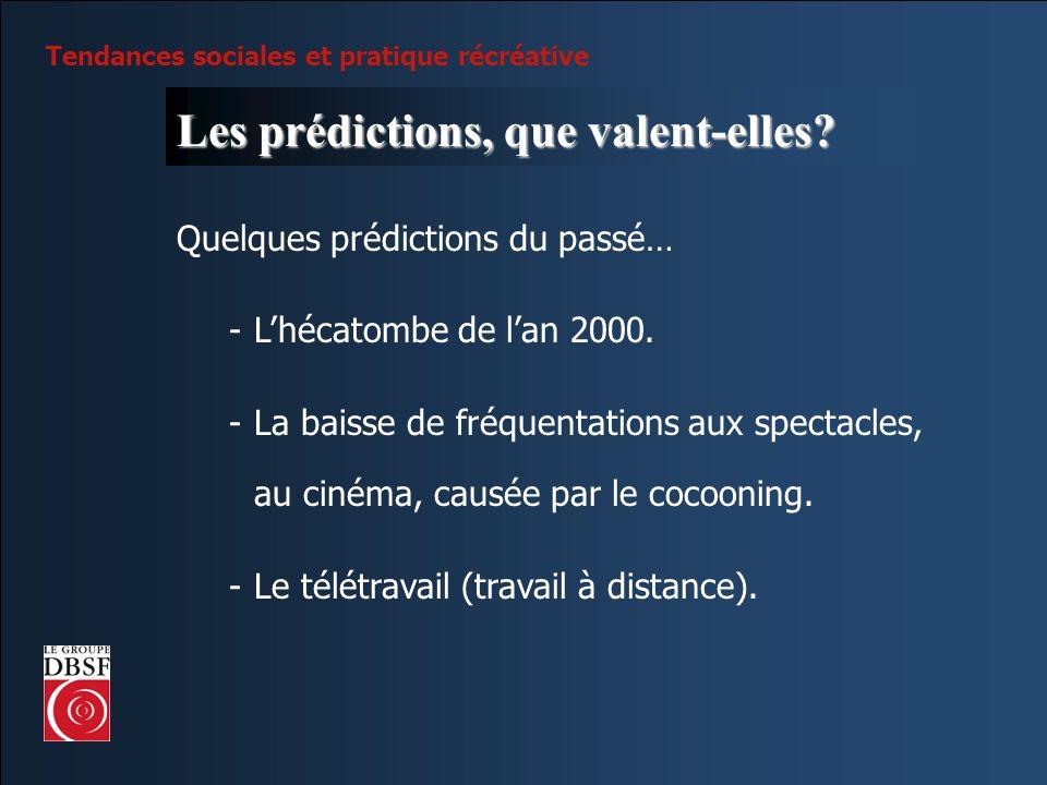 Tendances sociales et pratique récréative Les prédictions, que valent-elles? Quelques prédictions du passé… -Lhécatombe de lan 2000. -La baisse de fré
