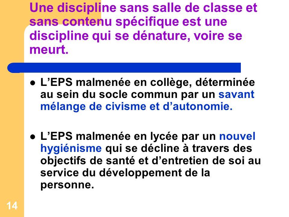 14 Une discipline sans salle de classe et sans contenu spécifique est une discipline qui se dénature, voire se meurt.