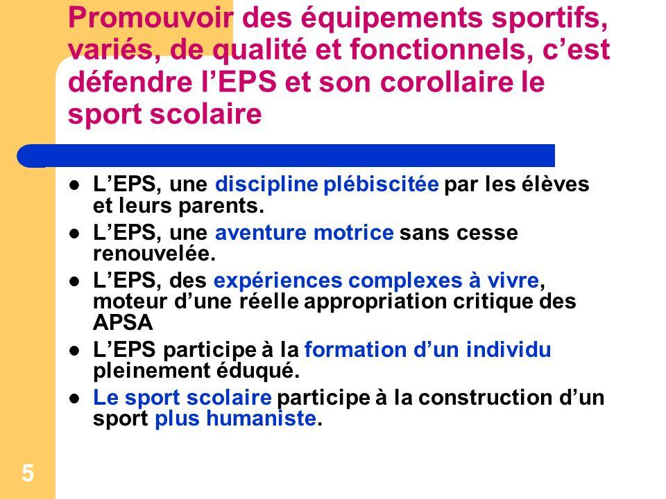 5 Promouvoir des équipements sportifs, variés, de qualité et fonctionnels, cest défendre lEPS et son corollaire le sport scolaire LEPS, une discipline plébiscitée par les élèves et leurs parents.
