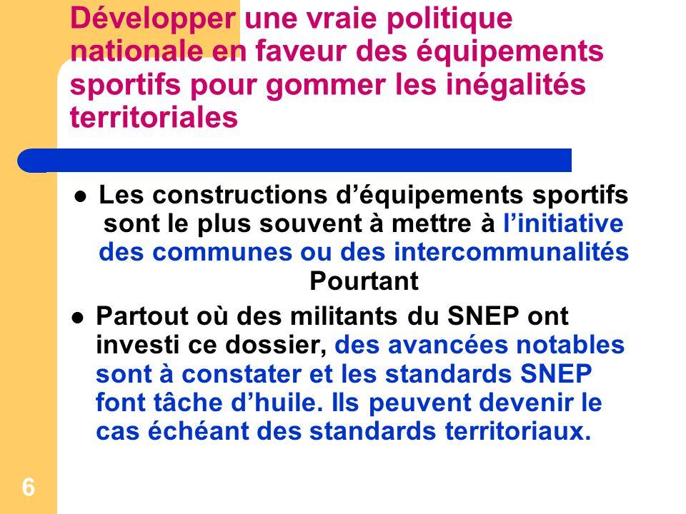 7 Développer une vraie politique nationale en faveur des équipements sportifs pour gommer les inégalités territoriales Pour le SNEP, 2 critères sont déterminants pour une participation de lEtat au financement des équipements sportifs - limplantation intra-muros ou à proximité immédiate des établissements.