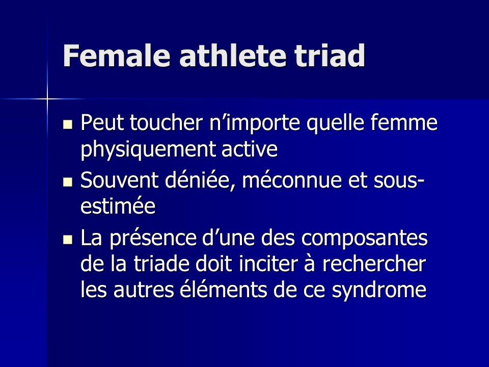 Female athlete triad Peut toucher nimporte quelle femme physiquement active Peut toucher nimporte quelle femme physiquement active Souvent déniée, méc