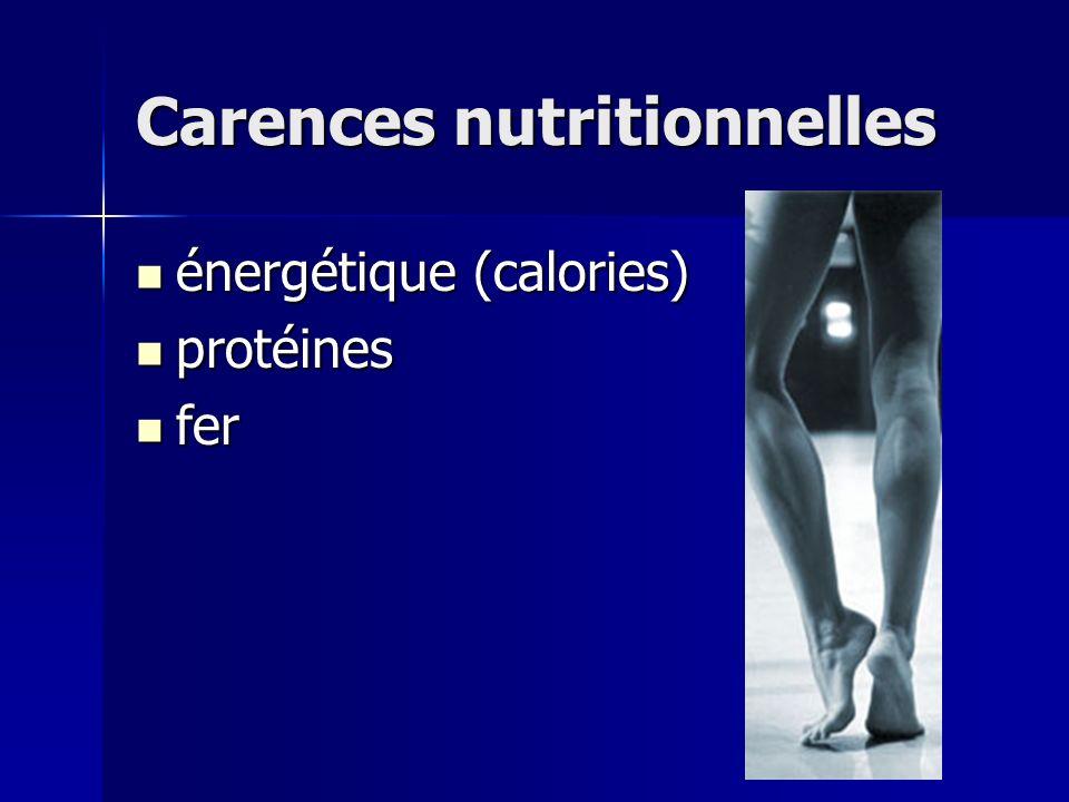 Carences nutritionnelles énergétique (calories) énergétique (calories) protéines protéines fer fer