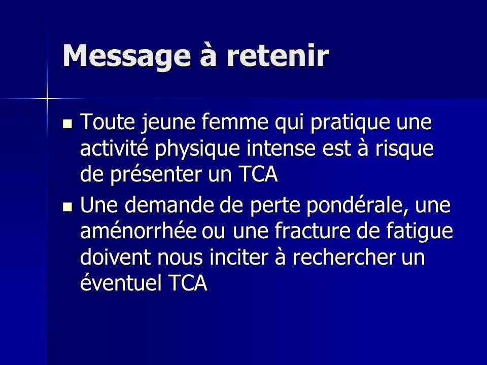 Message à retenir Toute jeune femme qui pratique une activité physique intense est à risque de présenter un TCA Toute jeune femme qui pratique une act