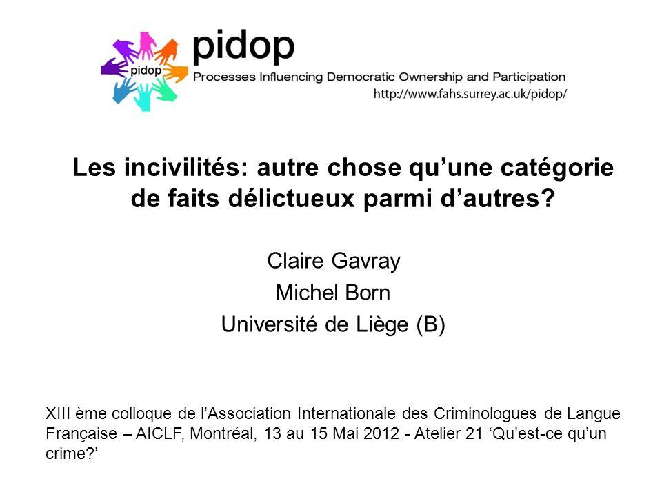 Les incivilités: autre chose quune catégorie de faits délictueux parmi dautres? Claire Gavray Michel Born Université de Liège (B) XIII ème colloque de