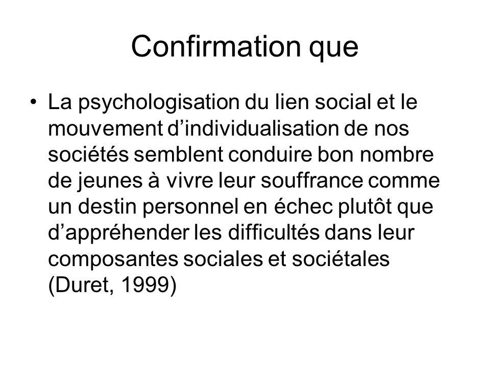 Confirmation que La psychologisation du lien social et le mouvement dindividualisation de nos sociétés semblent conduire bon nombre de jeunes à vivre
