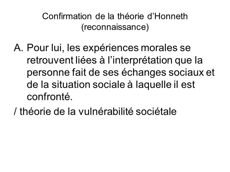 Confirmation de la théorie dHonneth (reconnaissance) A.Pour lui, les expériences morales se retrouvent liées à linterprétation que la personne fait de ses échanges sociaux et de la situation sociale à laquelle il est confronté.