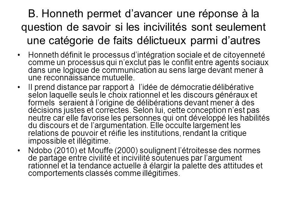 B. Honneth permet davancer une réponse à la question de savoir si les incivilités sont seulement une catégorie de faits délictueux parmi dautres Honne