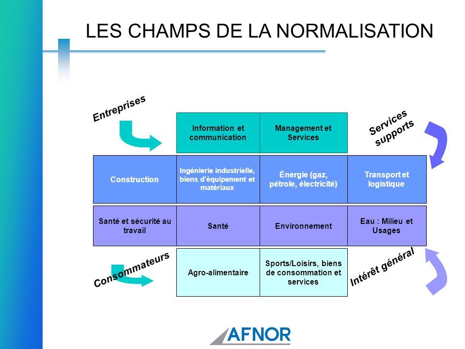 LES CHAMPS DE LA NORMALISATION Sports/Loisirs, biens de consommation et services Agro-alimentaire Eau : Milieu et Usages EnvironnementSanté Santé et s