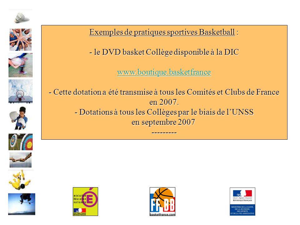 Exemples de pratiques sportives Basketball : - le DVD basket Collège disponible à la DIC www.boutique.basketfrance - Cette dotation a été transmise à tous les Comités et Clubs de France en 2007.