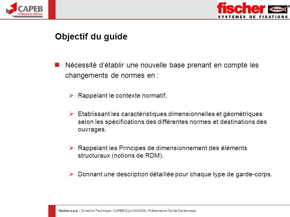 fischer s.a.s. - Direction Technique - CAPEB Dijon 2010/09 – Présentation Guide Garde-corps. Objectif du guide Nécessité détablir une nouvelle base pr