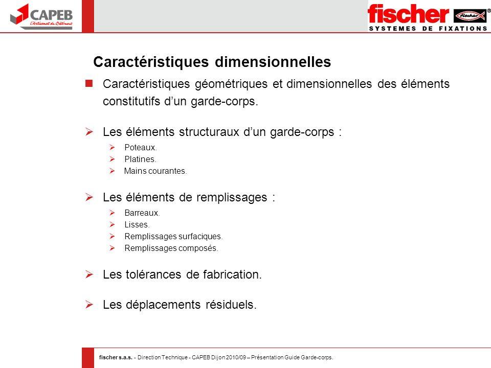 fischer s.a.s. - Direction Technique - CAPEB Dijon 2010/09 – Présentation Guide Garde-corps. Caractéristiques géométriques et dimensionnelles des élém