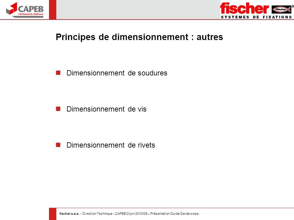 fischer s.a.s. - Direction Technique - CAPEB Dijon 2010/09 – Présentation Guide Garde-corps. Principes de dimensionnement : autres Dimensionnement de