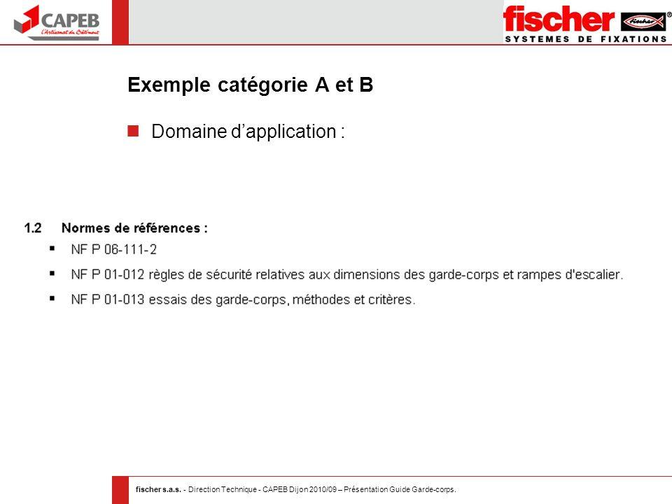 fischer s.a.s. - Direction Technique - CAPEB Dijon 2010/09 – Présentation Guide Garde-corps. Exemple catégorie A et B Domaine dapplication :