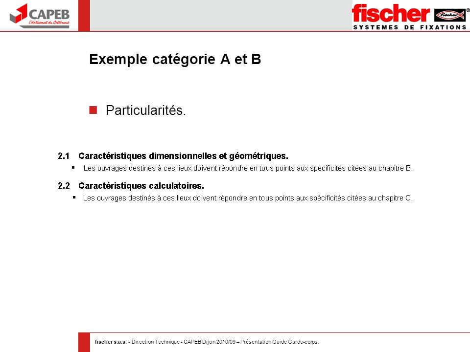 fischer s.a.s. - Direction Technique - CAPEB Dijon 2010/09 – Présentation Guide Garde-corps. Exemple catégorie A et B Particularités.
