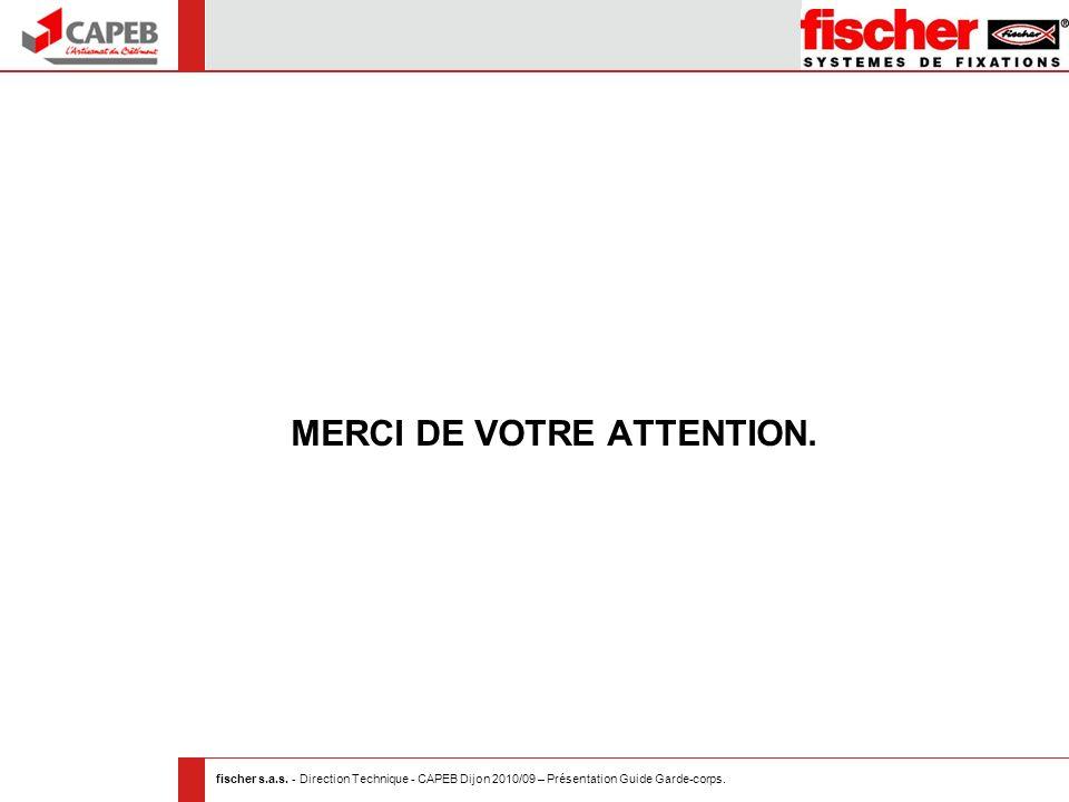 fischer s.a.s. - Direction Technique - CAPEB Dijon 2010/09 – Présentation Guide Garde-corps. MERCI DE VOTRE ATTENTION.