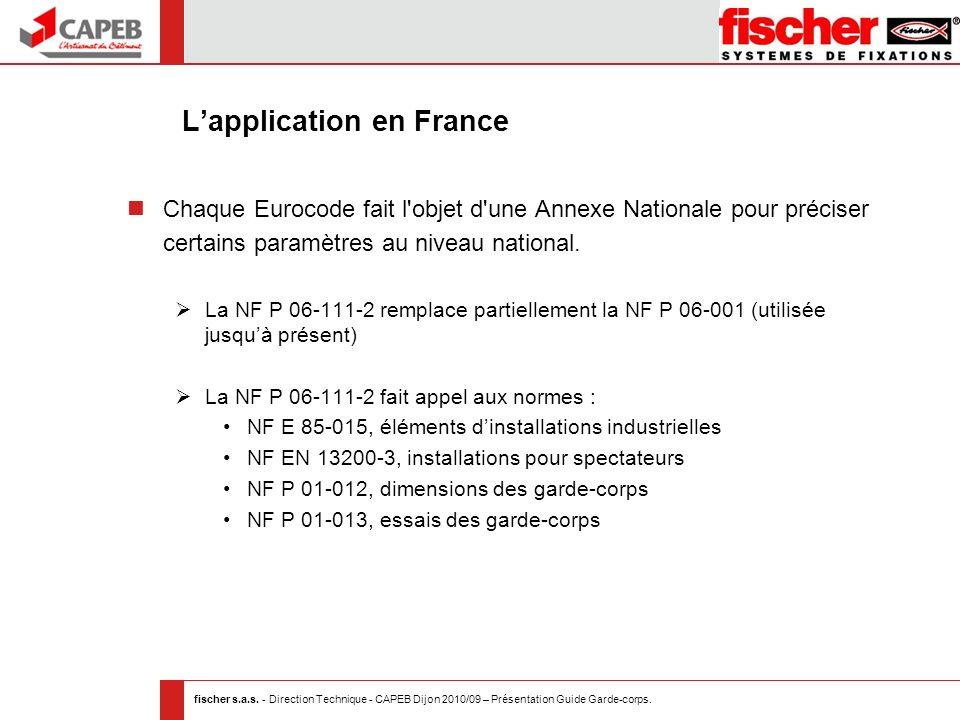fischer s.a.s. - Direction Technique - CAPEB Dijon 2010/09 – Présentation Guide Garde-corps. Lapplication en France Chaque Eurocode fait l'objet d'une