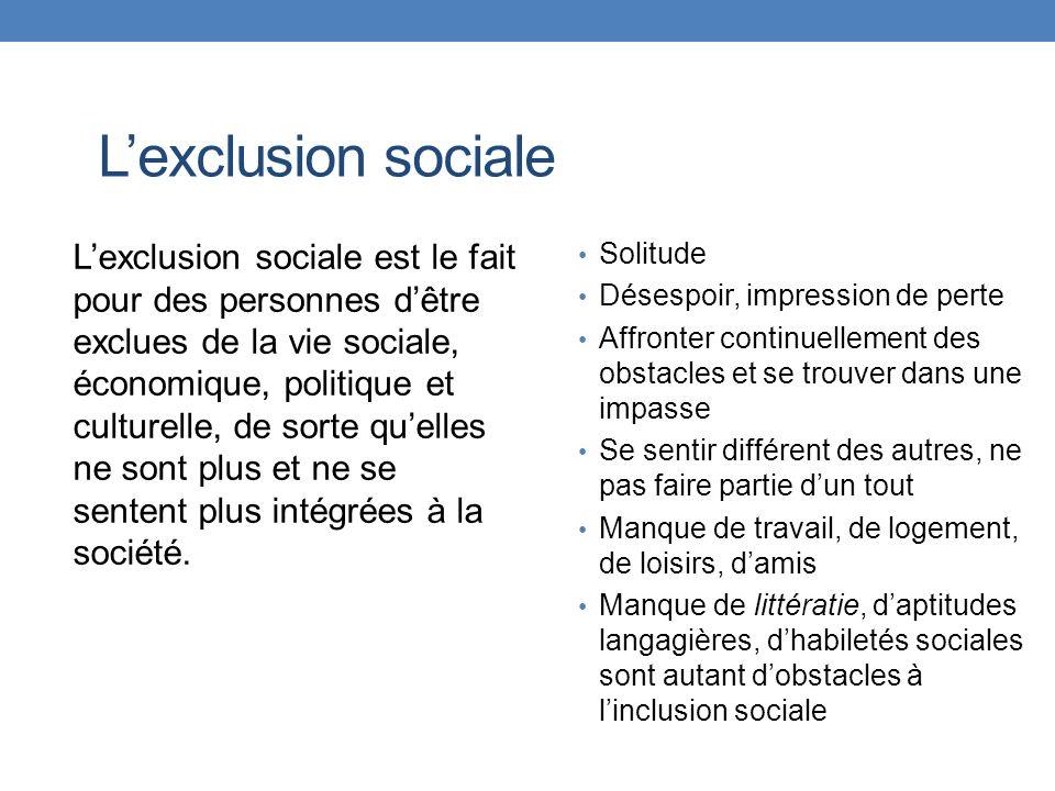 Lexclusion sociale Lexclusion sociale est le fait pour des personnes dêtre exclues de la vie sociale, économique, politique et culturelle, de sorte qu